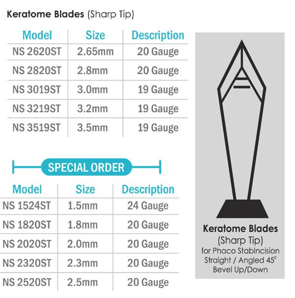 Keratome Blades - Sharp Tip