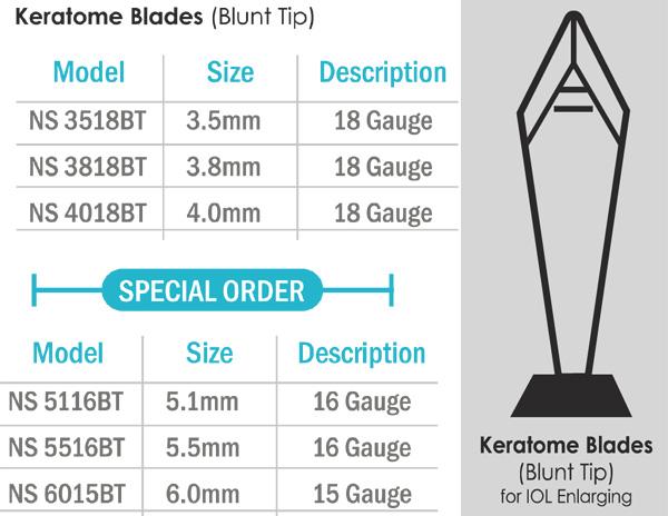 Keratome Blades - Blunt Tip