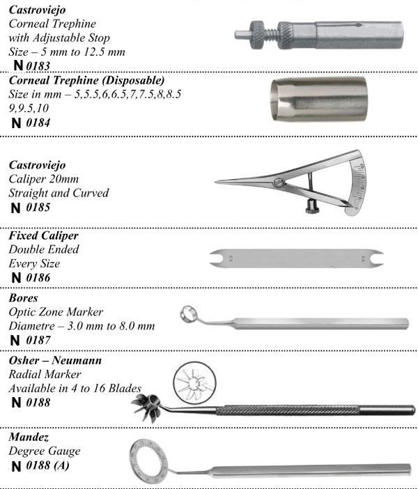 Trephines,Caliper & Markers